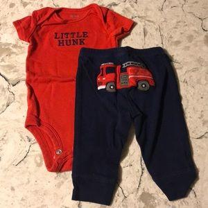 Carter's firetruck outfit.